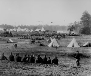 1862 Union camp in the Shenandoah Valley guarding Confederate prisoners
