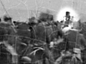 Enhanced image from Alexander Gardiner photo of Gettysburg Dedication Ceremonies taken on Nov. 19, 1863. Is this Abraham Lincoln in the stovetop hat?