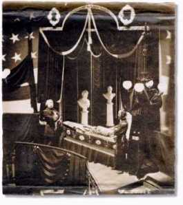 Authenticated photo of Lincoln in his casket taken by John Gurney, Jr. on April 24, 1865 in New York City