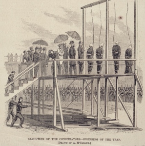 Engraving of Lincoln conspirators execution from Harper's Weekly, July 22,1865