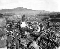Aftermath of the destruction of Nagasaki August 9, 1945