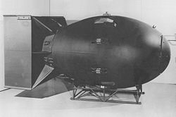 Fat Man (replica) atomic bomb dropped on Nagasaki Aug 9, 1945