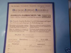 $400 ticket for the Hindenburg dated August 16, 1937 for Fr