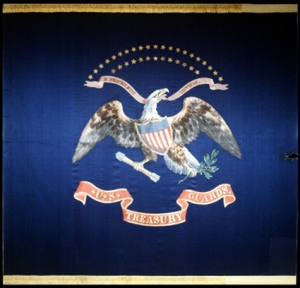 U.S Treasury Flag which Booth caught his spur on when jumping from the Presidential box