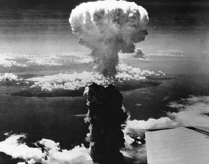 Mushroom cloud from the Nagasaki atom bomb rises some 60,000 feet (11 miles) into the atmosphere