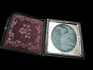 Metal plate photo in hinged frame