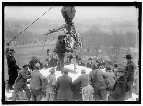 Laying the cornerstone for the Lincoln Memorial on Lincoln's birthday, February 12, 1915.