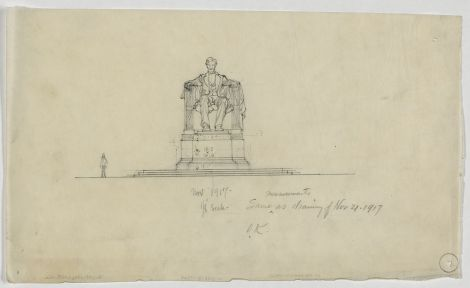 "Approved 1/8"" scale drawing of the Lincoln statue from late November, 1921"