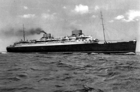 The German ocean liner Europa was captured by the allies in May,1945 and renamed Liberte by the French. It was used to carry soldiers back to the United States. George was on the first trip across the Atlantic.