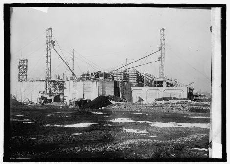 Construction moving along in January, 1915.