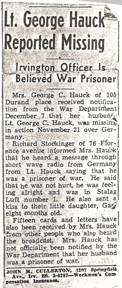 Hometown newspaper clipping reporting George's capture.