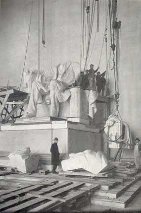 The Piccirilli family and Daniel Chester French work on the assembly of the Lincoln statue.