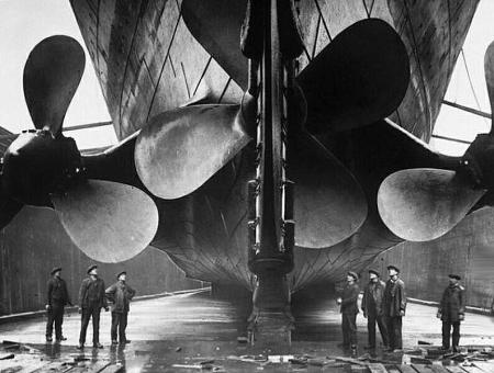 The triple screws of the RMS Titanic